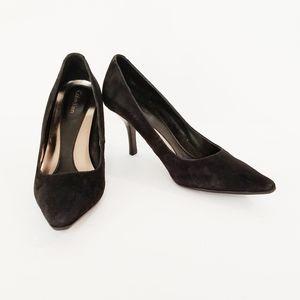 Calvin Klein Black Suede Dolly Pumps Size 7